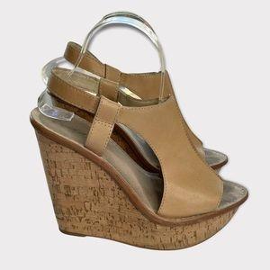 Elizabeth & James Harp Cork Wedge Sandals Tan 9